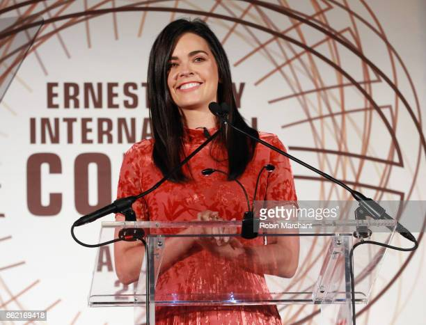 Katie Lee cookbook author and television host emcees the Ernesto Illy International Coffee Award gala at the New York Public Library on October 16...