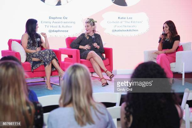 Katie Lee Daphne Oz and Founder CEO of Brit Co Brit Morin speak onstage as Brit Co Kicks Off Experiential PopUp #CreateGood with Allison Williams and...