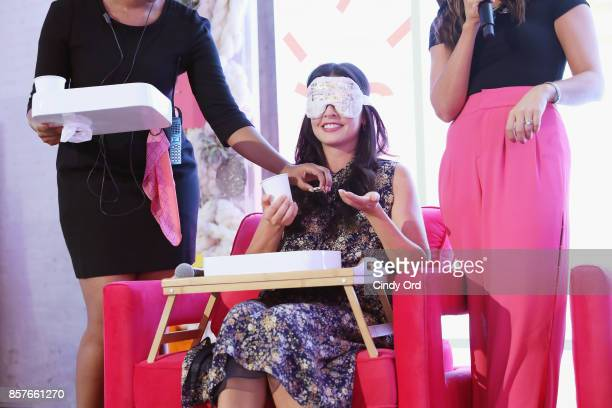 Katie Lee speaks onstage as Brit Co Kicks Off Experiential PopUp #CreateGood with Allison Williams and Daphne Oz at Brit Co on October 4 2017 in New...