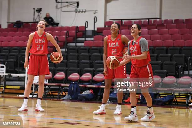 Katie Lou Samuelson Napheesa Collier and Kelsey Plum of the 2017 USA Women's National Team shoots the ball during training camp at Westmont College...
