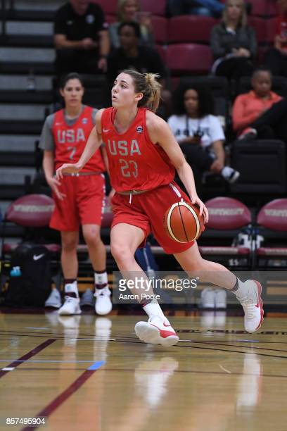 Katie Lou Samuelson of the 2017 USA Women's National Team during training camp at Westmont College on September 30 2017 in Santa Barbara California...