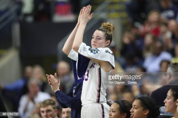 Katie Lou Samuelson of the Connecticut Huskies cheers on her team mates during the UConn Huskies Vs Oregon Ducks NCAA Women's Division 1 Basketball...