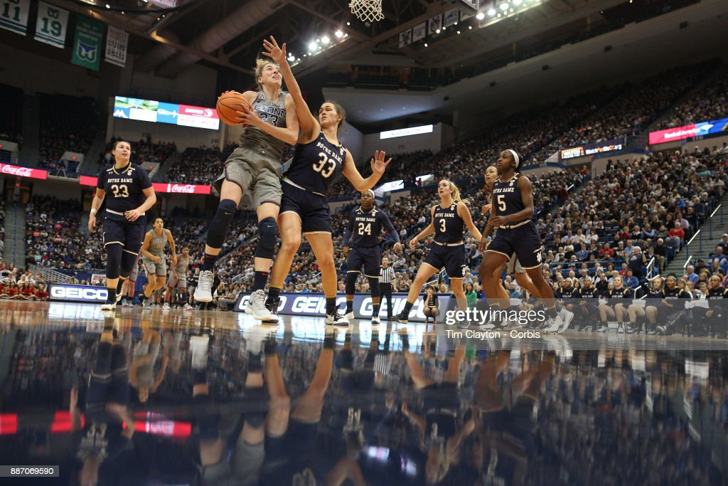 Katie Lou Samuelson #33 of the Connecticut Huskies defended by Kathryn Westbeld #33 of the Notre Dame Fighting Irish during the the UConn Huskies Vs Notre Dame, NCAA Women's Basketball game at the XL Center, Hartford, Connecticut. December 3, 2017