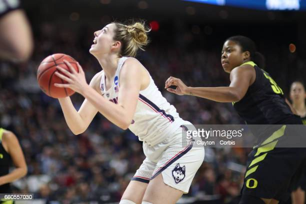 Katie Lou Samuelson of the Connecticut Huskies prepares to shoot during the UConn Huskies Vs Oregon Ducks NCAA Women's Division 1 Basketball...