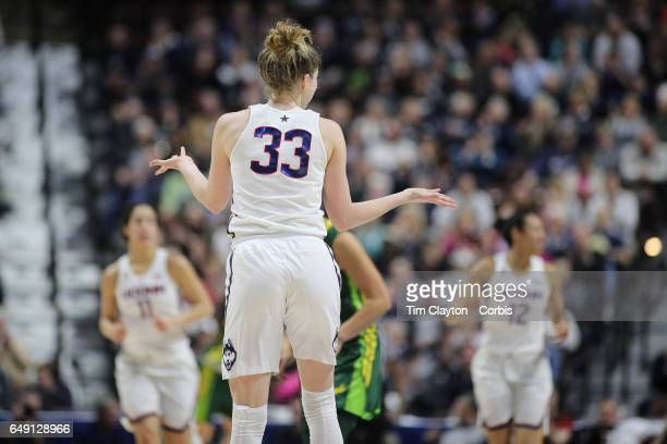 Katie Lou Samuelson of the Connecticut Huskies reacts after hitting one of her ten three pointers in a row during the USF Vs UConn American Athletic...