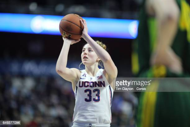 Katie Lou Samuelson of the Connecticut Huskies shoots a free throw during the USF Vs UConn American Athletic Conference Final NCAA Women's Basketball...