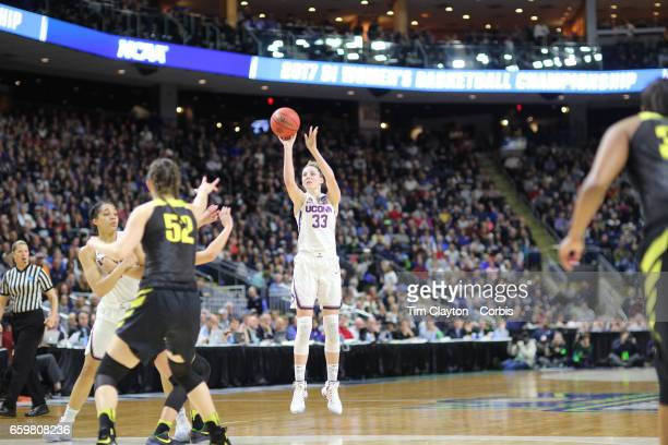 Katie Lou Samuelson of the Connecticut Huskies shoots for three in action during the UConn Huskies Vs Oregon Ducks NCAA Women's Division 1 Basketball...
