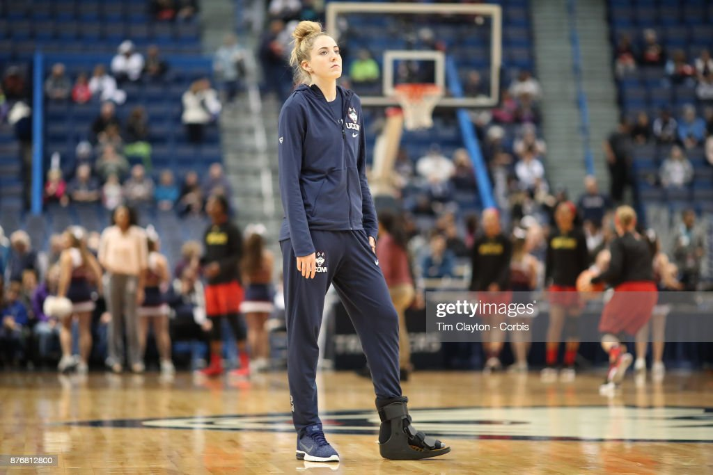 Katie Lou Samuelson #33 of the Connecticut Huskies watching warm up with her injured foot in a brace during the the UConn Huskies Vs Maryland Terrapins, NCAA Women's Basketball game at the XL Center, Hartford, Connecticut. November 19th, 2017