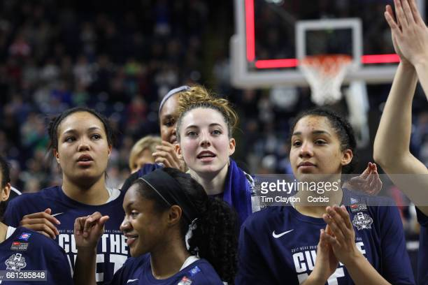Katie Lou Samuelson of the Connecticut Huskies with her team mates during the regional trophy presentation during the UConn Huskies Vs Oregon Ducks...