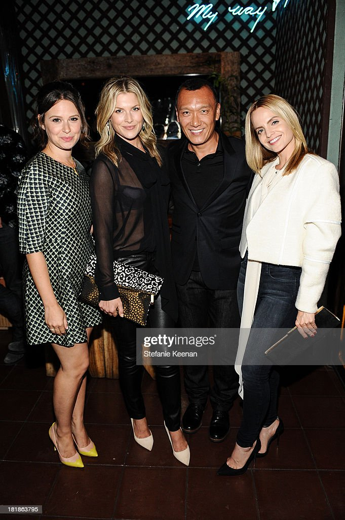 Katie Lowes, Ali Larter, Joe Zee and Mena Suvari attend an intimate dinner event hosted by Elle magazine and J Brand at Petit Ermitage Hotel on September 25, 2013 in West Hollywood, California.