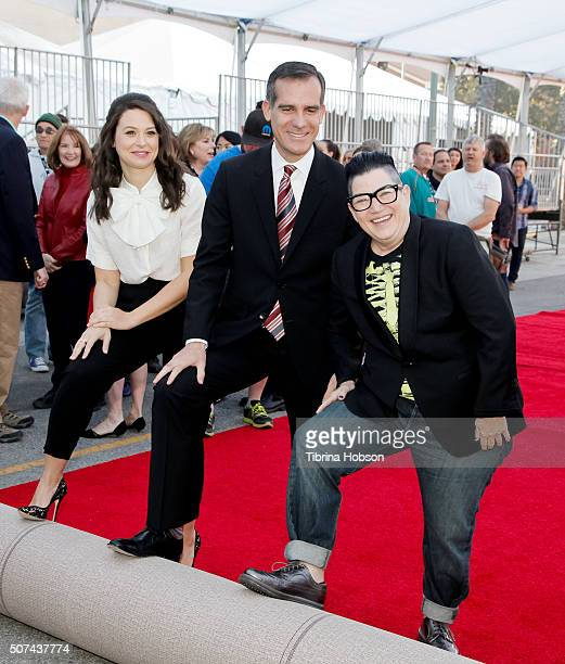 Katie Lowes Mayor Eric Garcetti and Lea DeLaria attend The 22nd Annual Screen Actors Guild Awards Red Carpet RollOut at The Shrine Expo Hall on...