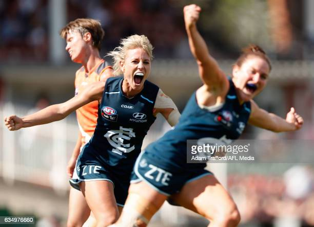 Katie Loynes of the Blues celebrates as Shae Audley of the Blues celebrates a goal during the 2017 AFLW Round 02 match between the Carlton Blues and...