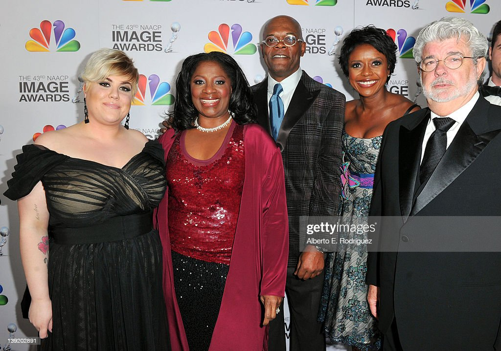 Katie Lucas (L), <a gi-track='captionPersonalityLinkClicked' href=/galleries/search?phrase=LaTanya+Richardson&family=editorial&specificpeople=234411 ng-click='$event.stopPropagation()'>LaTanya Richardson</a>, Actor <a gi-track='captionPersonalityLinkClicked' href=/galleries/search?phrase=Samuel+L.+Jackson&family=editorial&specificpeople=167234 ng-click='$event.stopPropagation()'>Samuel L. Jackson</a>, <a gi-track='captionPersonalityLinkClicked' href=/galleries/search?phrase=Mellody+Hobson&family=editorial&specificpeople=2572145 ng-click='$event.stopPropagation()'>Mellody Hobson</a>, and Producer/Director <a gi-track='captionPersonalityLinkClicked' href=/galleries/search?phrase=George+Lucas&family=editorial&specificpeople=202500 ng-click='$event.stopPropagation()'>George Lucas</a> arrive at the 43rd NAACP Image Awards held at The <a gi-track='captionPersonalityLinkClicked' href=/galleries/search?phrase=George+Lucas&family=editorial&specificpeople=202500 ng-click='$event.stopPropagation()'>George Lucas</a> Shrine Auditorium on February 17, 2012 in Los Angeles, California.