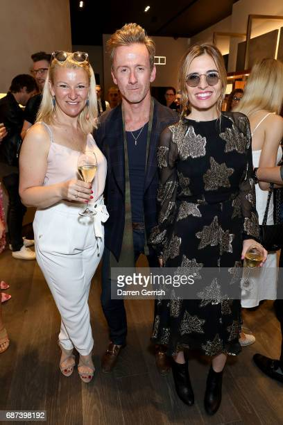 Katie Manderson Tom Stubbs and Jessica Craig attend the 30 year anniversary Oliver Peoples celebration at The London Flagship on May 23 2017 in...