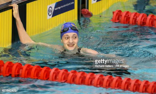 Katie Matts reacts after winning the Women's 100 metres Target Tokyo breaststroke during day six of the 2017 British Swimming Championships at Ponds...