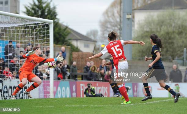 Katie McCabe scores Arsenal Ladies 9th goal during the match between Arsenal Ladies and Tottenham Hotspur Ladies on March 19 2017 in Borehamwood...