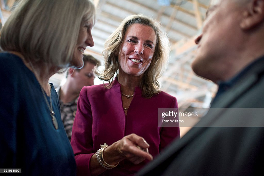 Katie McGinty Democratic candidate for Pennsylvania Senate talks with guests during Penn State's Ag Progress Days in Pennsylvania Furnace Pa August...