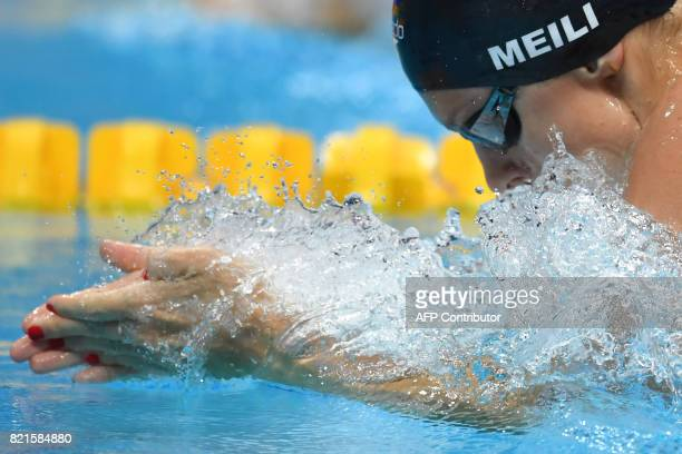 US Katie Meili competes in a women's 100m breaststroke semifinal during the swimming competition at the 2017 FINA World Championships in Budapest on...