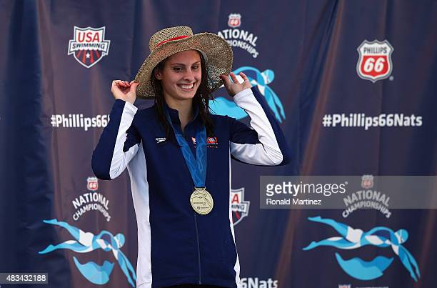Katie Meili on the awards stand for the Womens 100 LC Breaststroke final during the 2015 Phillips 66 National Championships at the Northside Swim...