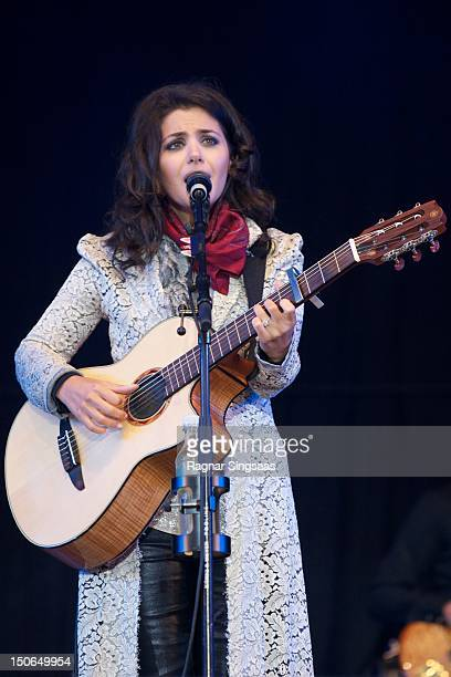 Katie Melua performs on stage during day 1 of the RXR festival at Lassa on August 23 2012 in Stavanger Norway