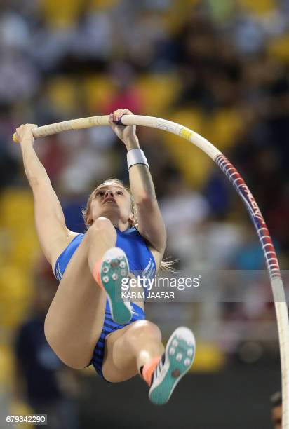 US' Katie Nageotte competes in the women's pole vault during the Diamond League athletics competition at the Suhaim bin Hamad Stadium in Doha on May...