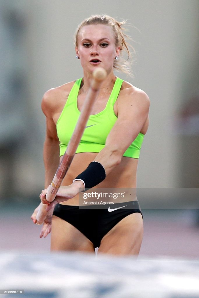 Katie Nageotte of the USA competes during the Pole Vault at the Diamond League athletics competition at the Qatar Sports Club Stadium in Doha, Qatar on May 6, 2016.