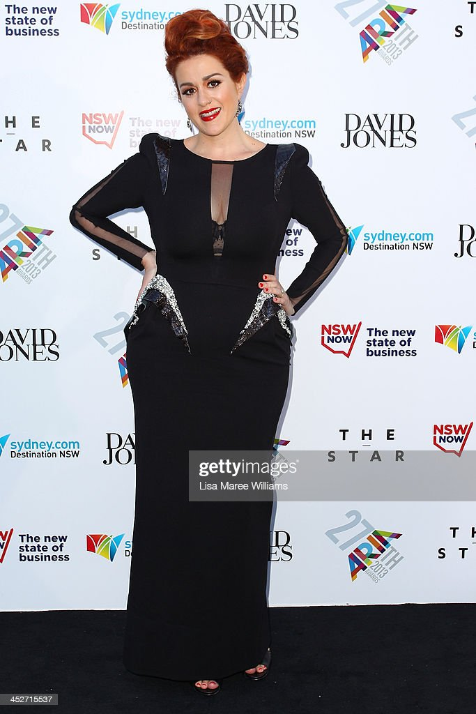 <a gi-track='captionPersonalityLinkClicked' href=/galleries/search?phrase=Katie+Noonan&family=editorial&specificpeople=236079 ng-click='$event.stopPropagation()'>Katie Noonan</a> arrives at the 27th Annual ARIA Awards 2013 at the Star on December 1, 2013 in Sydney, Australia.