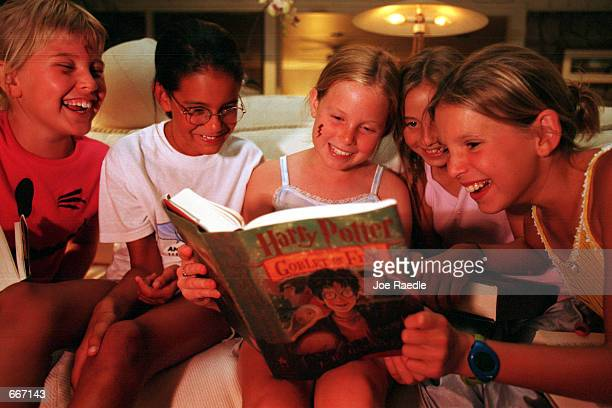 Katie Oppenheim Catherine Ybonez Jackie Leverett Stephanie Price and Jordan Beckoff stay up well past 1am to read the new 'Harry Potter and the...