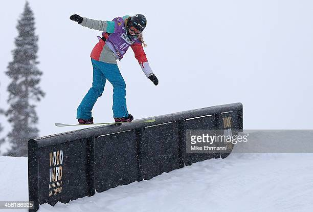 Katie Ormerod of Great Britain competes during qualifying for the womens FIS Snowboard Slopestyle World Cup at US Snowboarding and Freeskiing Grand...