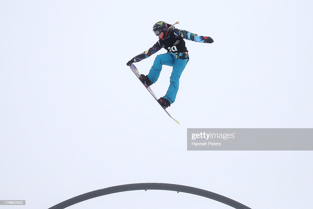 Katie Ormerod of Great Britain competes in qualifying for FIS Snowboard Slopestyle World Cup Finals during day five of the Winter Games NZ at Cardrona Alpine Resort on August 19, 2013 in Wanaka, New Zealand.