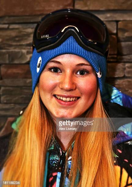 Katie Ormerod of the Great Britain Freestyle Snowboard Team poses for a portrait during a Team GB Freeski and Freestyle Snowboard Media Day on...