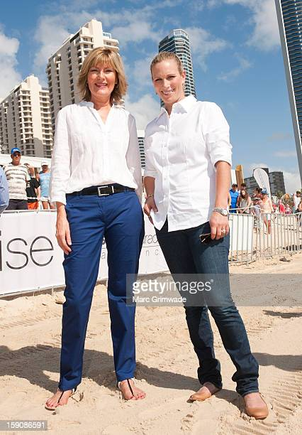 Katie Page and Zara Phillips pose during the Magic Millions Barrier Draw on January 8 2013 in Surfers Paradise Australia