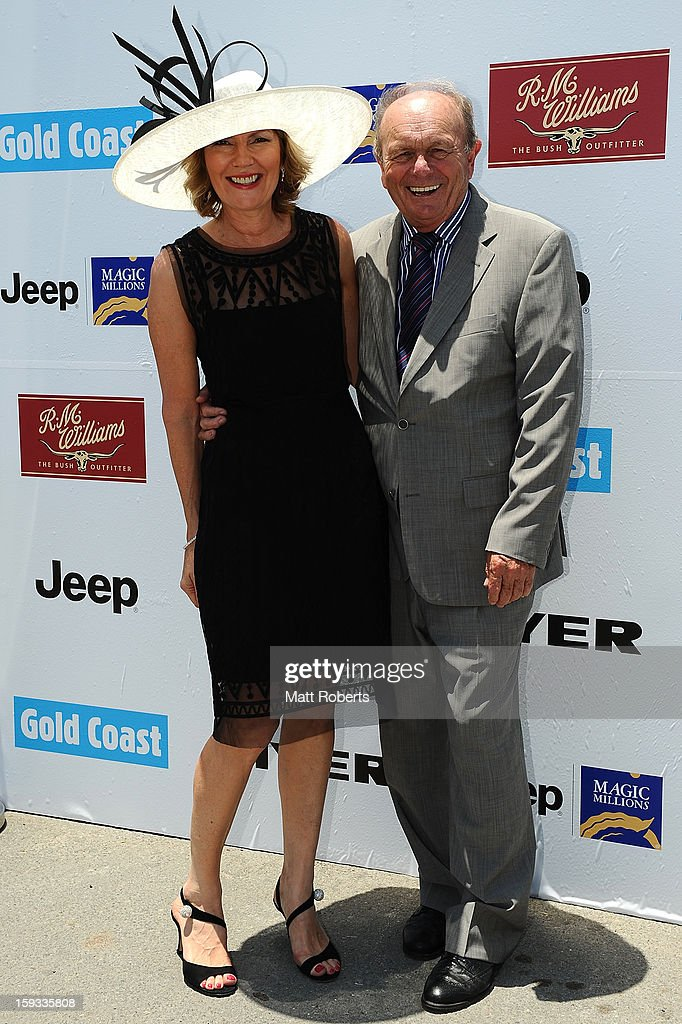 Katie Page-Harvey and Gerry Harvey attend Magic Millions Raceday at Gold Coast Turf Club on January 12, 2013 on the Gold Coast, Australia.