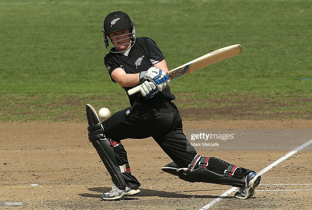 Katie Perkins of New Zealand bats during game four of the one day international series between the Australian Southern Stars and New Zealand at North Sydney Oval on December 19, 2012 in Sydney, Australia.