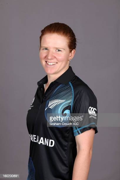 Katie Perkins of New Zealand poses at a portrait session ahead of the ICC Womens World Cup 2013 at the Taj Mahal Palace Hotel on January 27 2013 in...