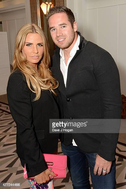 Katie Price and husband Kieran Hayler attend the book launch of Richard Desmond's 'The Real Deal' at Claridge's on June 15 2015 in London England