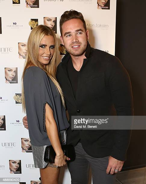 Katie Price and Kieran Hayler attend the launch of new book 'Simply Glamorous' by Gary Cockerill at Alon Zakaim Fine Art on September 16 2015 in...
