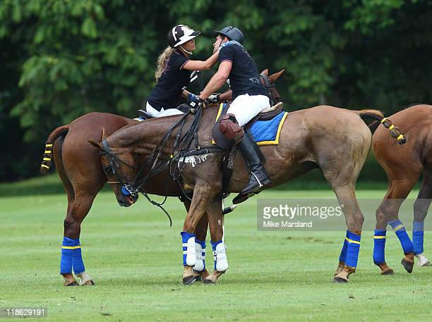 Katie Price and Leandro Penna take part in the Rundle Cup at Tidworth Polo Club on July 9 2011 in Tidworth Wiltshire