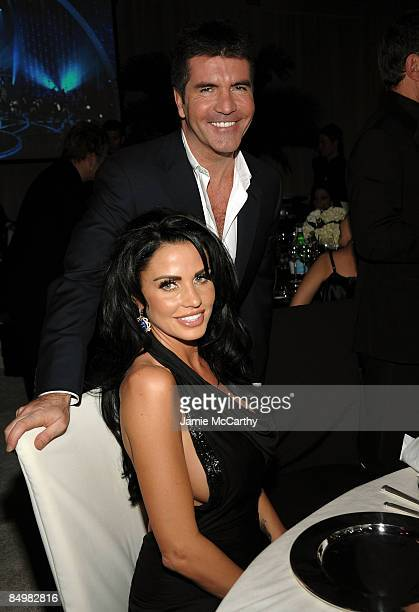 WEST HOLLYWOOD CA FEBRUARY 22 Katie Price and music producer Simon Cowell attend the 17th Annual Elton John AIDS Foundation Oscar party held at the...