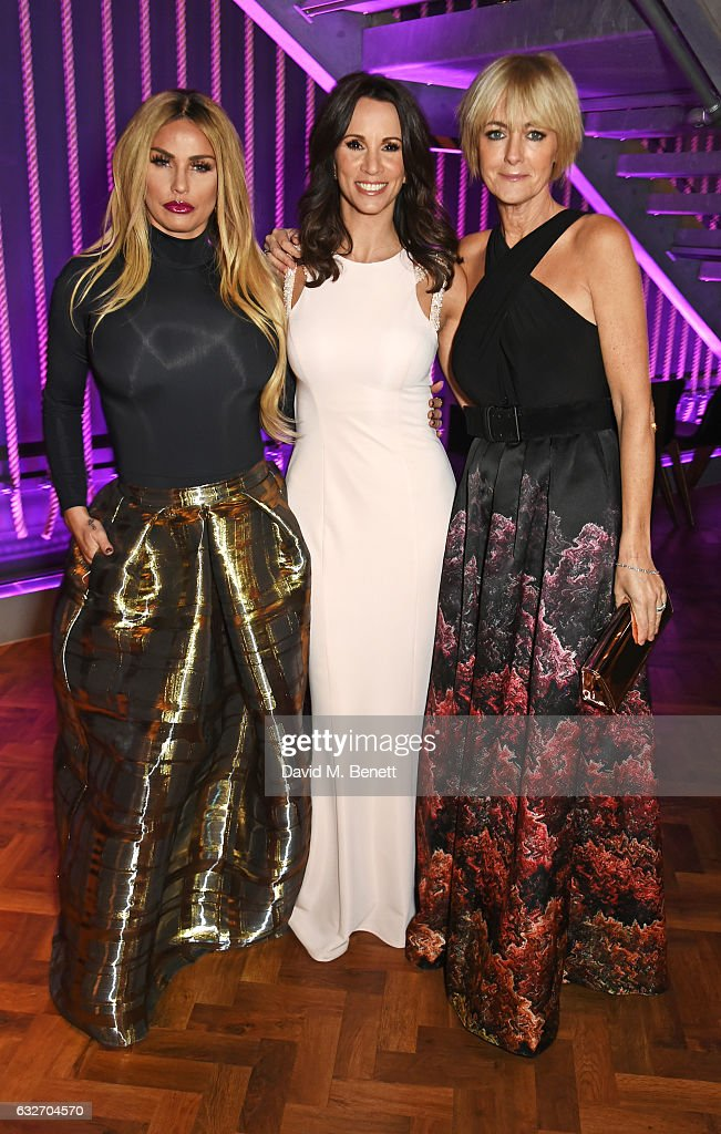 Katie Price, Andrea McLean and Jane Moore attend the National Television Awards cocktail reception at The O2 Arena on January 25, 2017 in London, England.