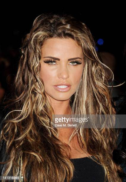 Katie Price arrives at the European Premiere of 'The Hunger Games' at the O2 Arena on March 14 2012 in London England