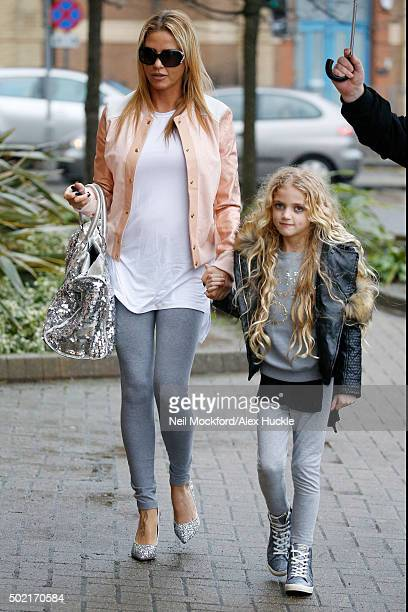 Katie Price arrives at the New Victoria Theatre with daughter Princess on December 21 2015 in Woking England