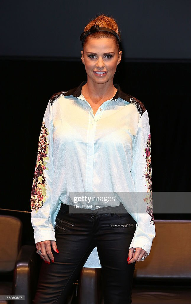 Katie Price attends a photocall ahead of the panel debate 'Does Page 3 make the world a better place' at the Women of the World event at the Queen...