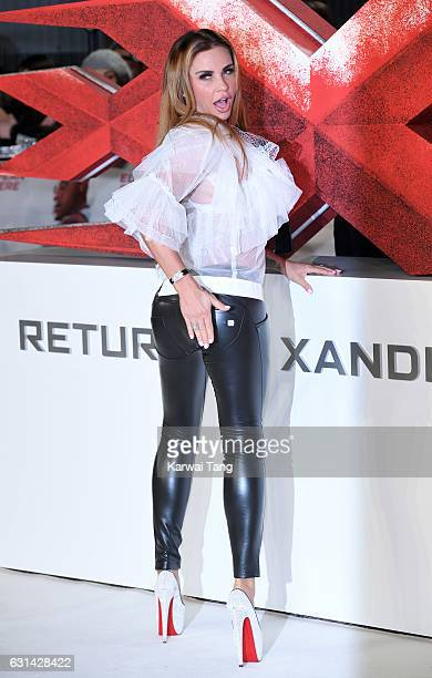 Katie Price attends the European premiere of 'xXx Return of Xander Cage' at Cineworld 02 on January 10 2017 in London United Kingdom