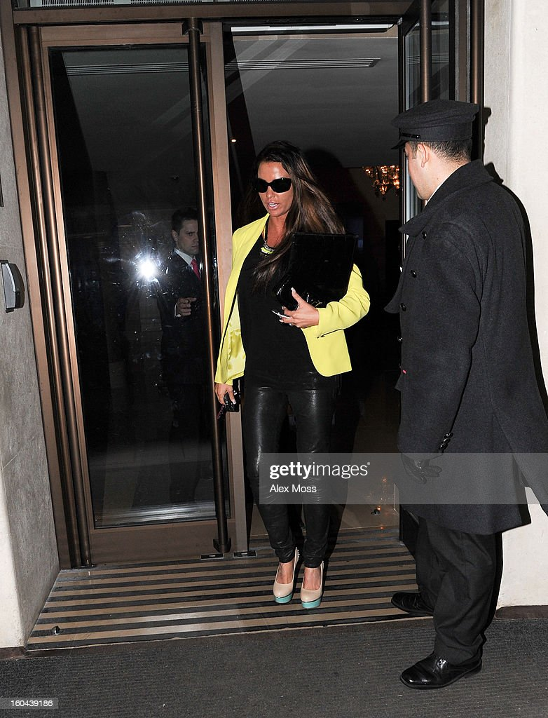 <a gi-track='captionPersonalityLinkClicked' href=/galleries/search?phrase=Katie+Price&family=editorial&specificpeople=260303 ng-click='$event.stopPropagation()'>Katie Price</a> is seen at the Mayfair Hotel on January 30, 2013 in London, England.