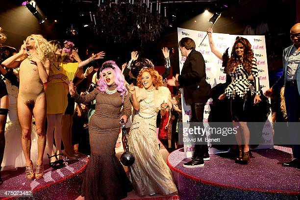 Katie Price Jonathan Ross and Ru Paul with contestants and guests at the final of RuPaul's Drag Race 'UK Ambassador' hosted by truTV and RuPaul at...