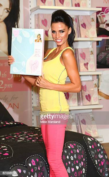 Katie Price launches bed linen range at Matalan on July 29 2008 in Milton Keynes England