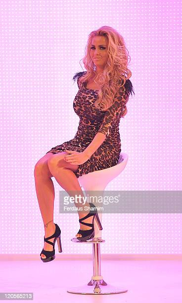 Katie Price models her clothing collection at Earls Court on August 7 2011 in London England