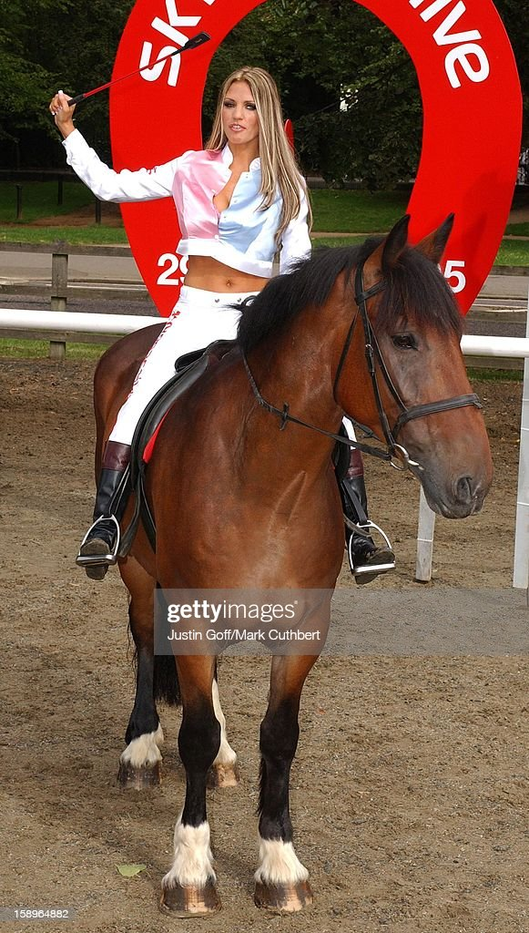 Katie Price Mounts A 16Hand Thoroughbred Horse At A Photocall To Launch The New Virtual Horseracing Show 'The Horses'