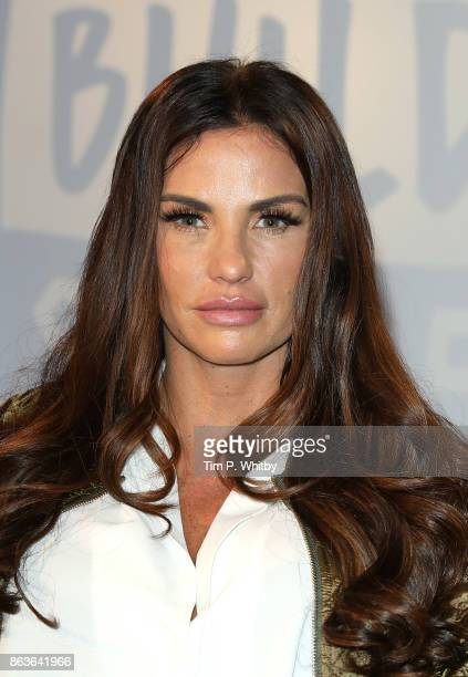 Katie Price poses for a photo after a discussion about her new book 'Playing with Fire' and her career at BUILD London on October 20 2017 in London...